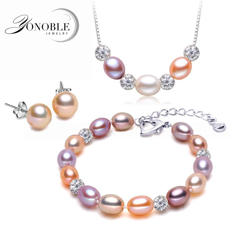 100% Natural Pearl Sets freshwater wedding pearl jewelry 925 sterling silver jewelry sets women conjuntos joyas de plata gift