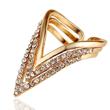 Punk Rings Wholesale Rose Gold Plated Geometric Triangle Ring For Women CZ Diamond Ring Bague Anelli Donna Anillos Mujer(China (Mainland))
