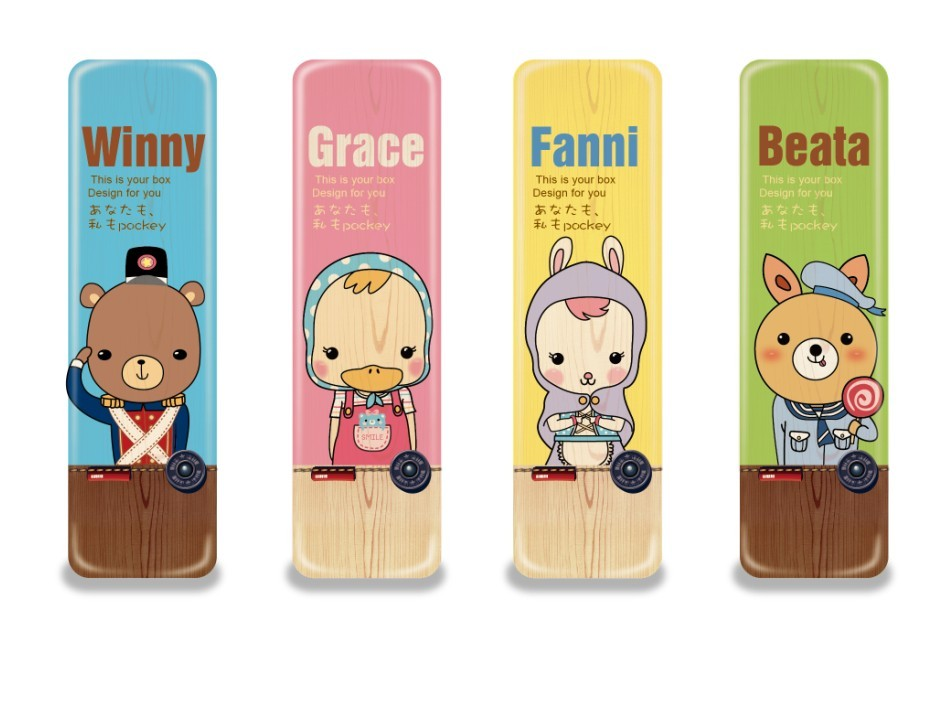 Orange rabbit stationery box cartoon tin pencil box child gift prize