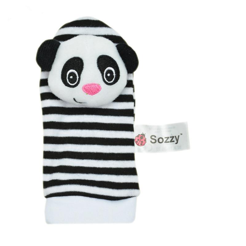 2016 Fashion A Pair Baby Infant Toy Soft Handbells Hand Wrist Strap Rattles/Animal Socks Foot Finders Developmental Toys(China (Mainland))