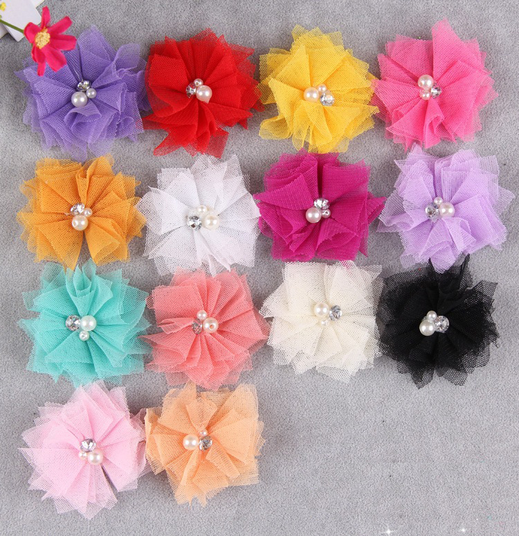 Flower headband 2014 new candy-colored pearl hairband elastic hair band accessories for children(China (Mainland))