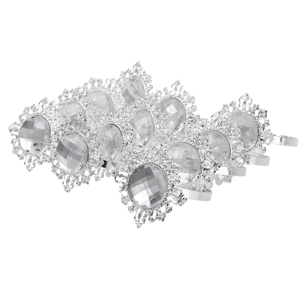 12pcs Acrylic Silver-plated Diamond Napkin Rings for Wedding Receptions Gifts For Holiday Dinner Business Entertaining(China (Mainland))
