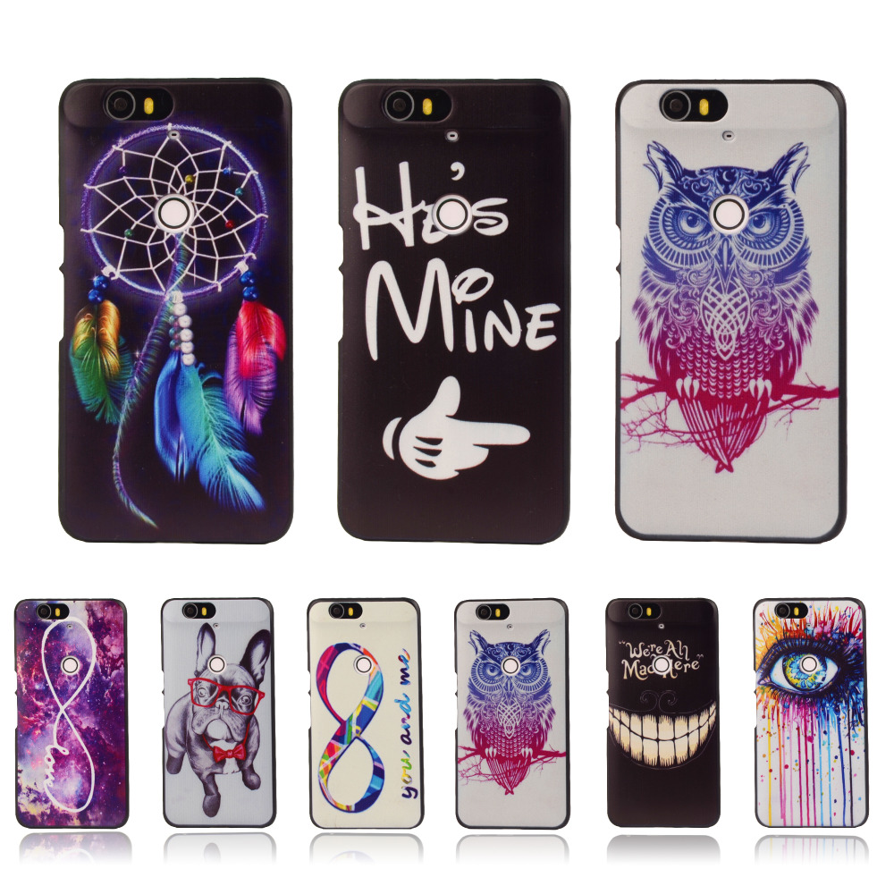 Ultra Thin Cartoon Hard Cover For Huawei Nexus 6P Google 6P Colorful Printing Drawing Plastic Back Protective Cell Phone Case(China (Mainland))