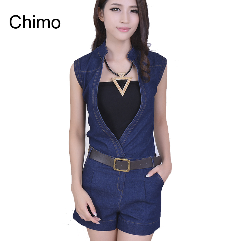 2016 Summer New Fashion V Neck Rompers Womens Jumpsuit Denim
