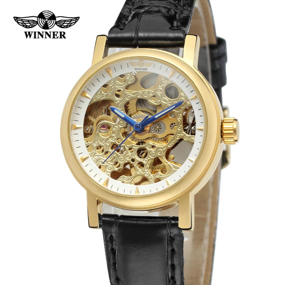 T-Winner Womens Watch  Original Charming Quality Automatic Skeleton Leather Band Elegant Wristwatch Color Gold  WRL8048M3<br><br>Aliexpress