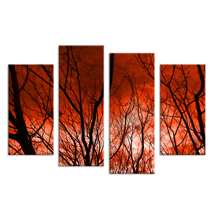 4PCS The sky caught fire HD Wall painting print on canvas for home decor ideas paints on wall pictures art No framed(China (Mainland))