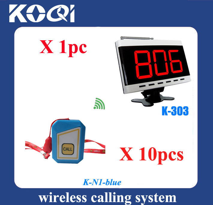 Panic button emergency calling system K-303 and 10pcs buzzer hang on the neck paging service equipment(China (Mainland))