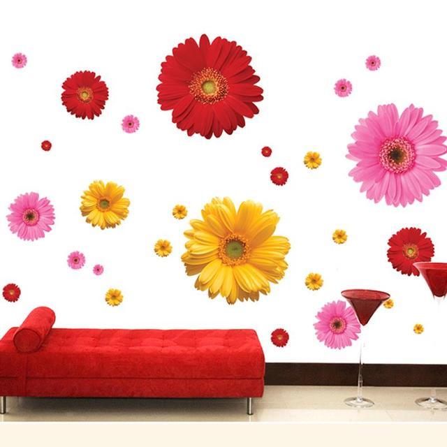 Красочные цветок цветочный стикеры гостиной спальня на стены домашнего декора наклейка кухня росписи свадебный подарок украшения