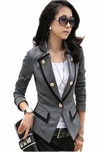 2016 Women Brand New Black Grey Military Style Jacket Formal Autumn Summer Blazer Lady Blaser Office Suit Coat Jaquetas Feminina