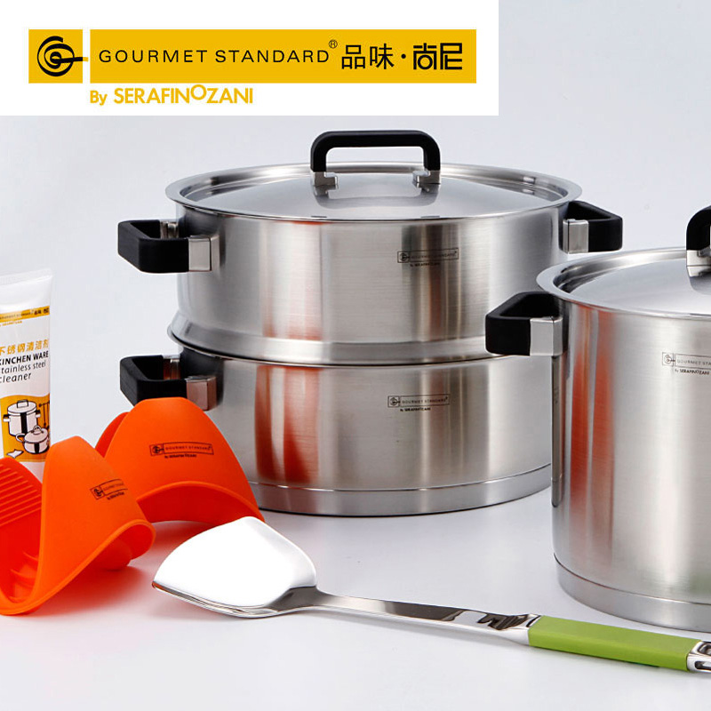 Free shipping Easy home middot . buzhanguo 304 stainless steel cookware 6 piece set cookware set wok(China (Mainland))