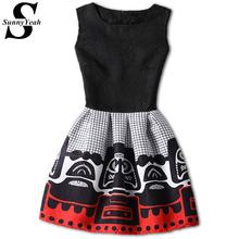 Buy New Casual Women Summer Dress 2017 Black Sleeveless Print Party Dresses Ladies Vintage Style sundress female vestidos de festa for $8.72 in AliExpress store