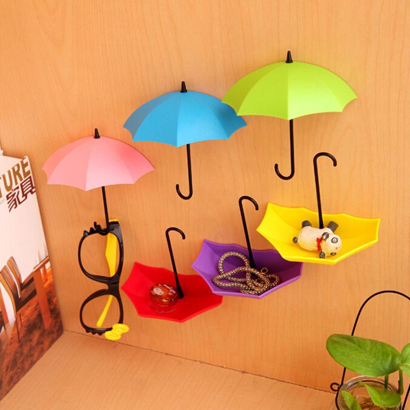 3Pcs Colorful Umbrella Wall Hook Key Hair Pin Holder Organizer Decorative Free Shipping(China (Mainland))