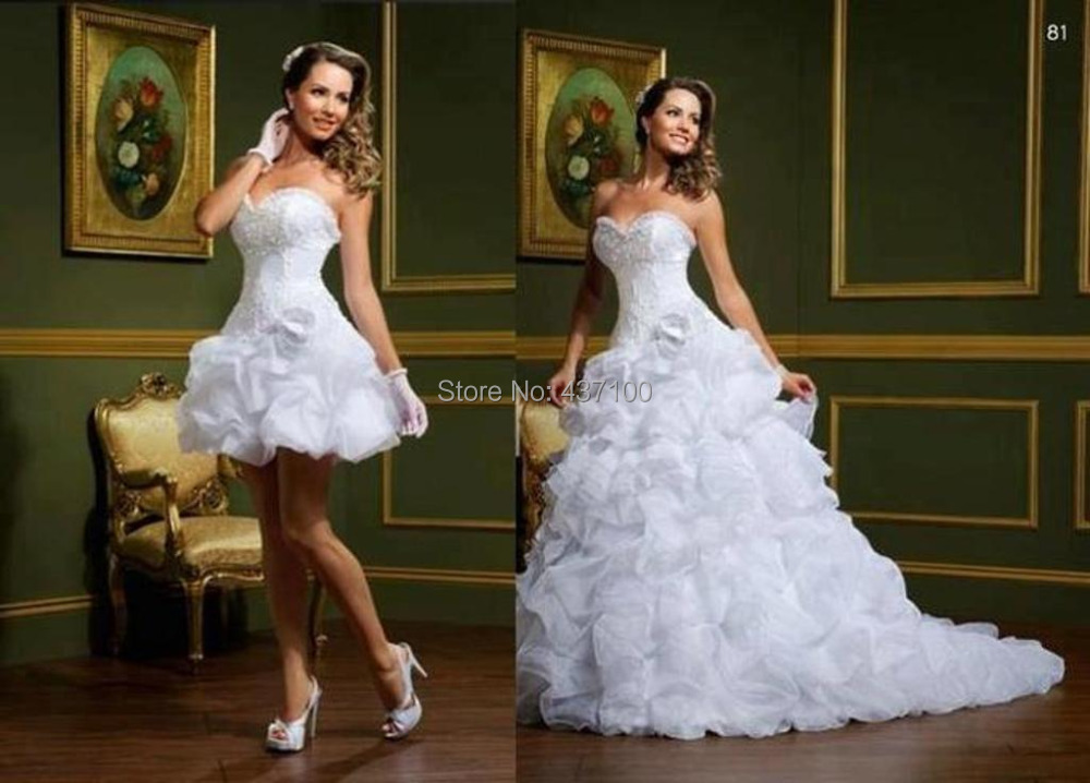 2014 Sexy Sweetheart Short Wedding Dress Bride Organza Removable Skirt Ruffle