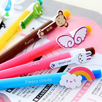 Kawaii Cartoon Plastic Ballpoint Pens Cute Lovely Cat Bird Ball Pen School Supplies Korean Stationery Free shipping 401(China (Mainland))