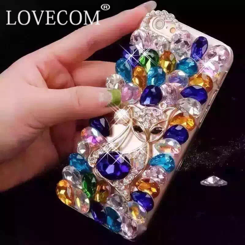 LOVECOM Luxury Fox Colorful Crystal Bling Diamond DIY Phone Hard Cover Phone Case For iPhone 6 6S 6Plus 6SPlus Best Gift YC1483(China (Mainland))