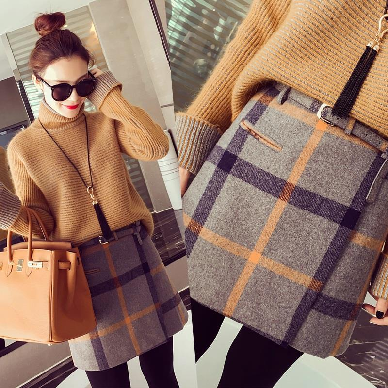 2016 spring skirts retro sen female line wild woolen plaid skirts and long sections large swing