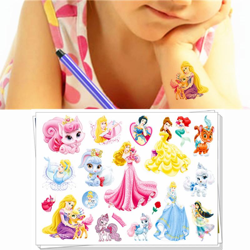 M-theory Baby Temporary Tattoo Body Art Sticker Toys Cute Princess Flash Tattoo Sticker Keep 3-5 days Waterproof 17*10cm