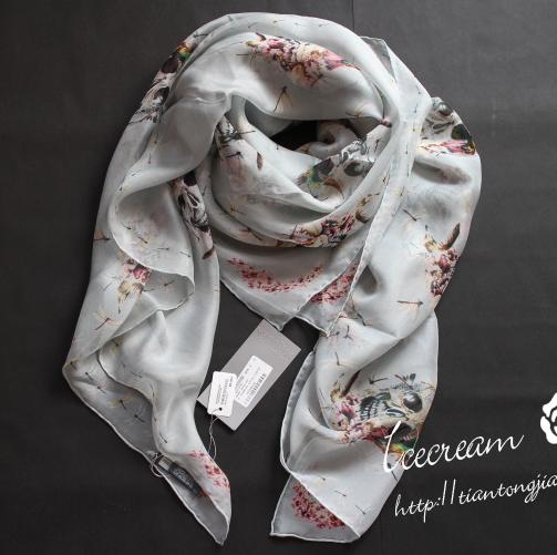 New Brand 100% Silk Scarf Printing Flower Skull Scarves Women Skulls Dragonfly Print Designer Silk Scarf Summer Shawl S203(China (Mainland))