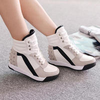 New Hot Womens Fashion High Top Rivet Trainer Shoes Mid Wedge Heel lace up Sneakers