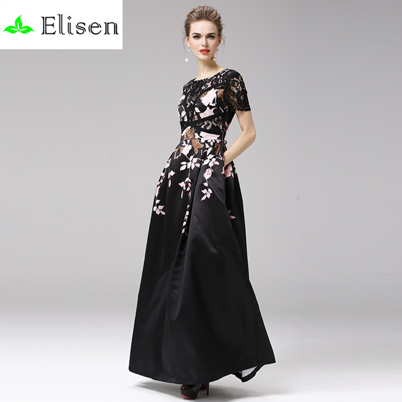 Fashion Long Dress 2016 Summer Victoria Beckham Lace Sleeve Embroidery Print Big Swing Innovative Women Famous Brand DressОдежда и ак�е��уары<br><br><br>Aliexpress
