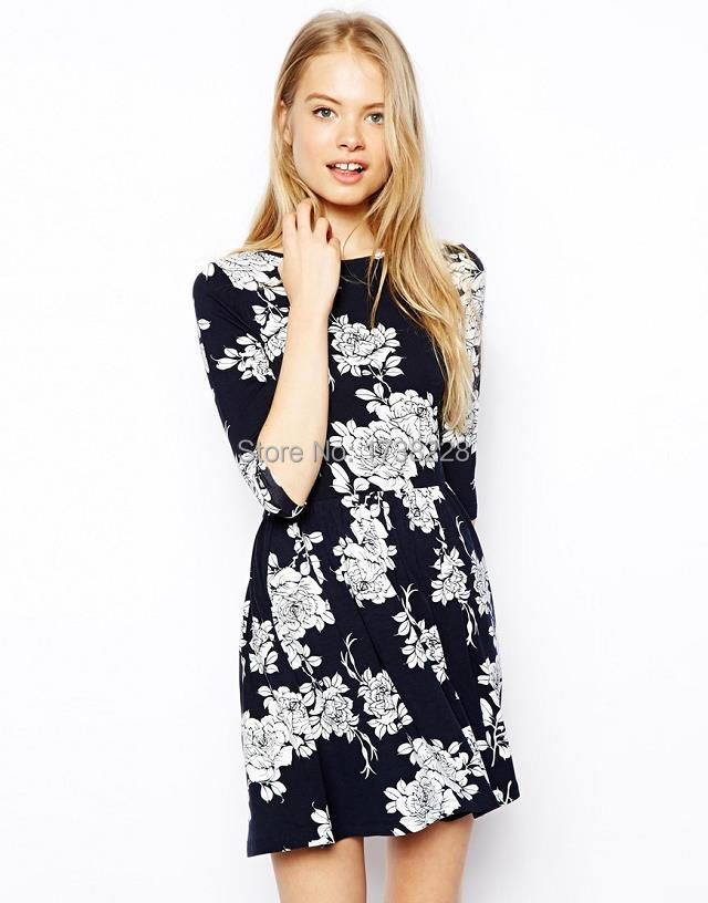 spring and autumn period Europe and the United States women's clothing, the owl print collect waist 7 minutes of sleeve dress(China (Mainland))