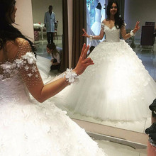 Buy New Design Long Wedding Dress 2017 V-Neck Long Sleeves Chapel Train Ball Gown Flowers Tulle Bride Dresses 2016 Robe de mariee for $279.00 in AliExpress store