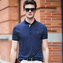 2016 Summer Men Dress Business Casual Polo Shirts Polka Dots Print Short Sleeve Slim Fit Button Cotton Men Luxury Brand Shirts