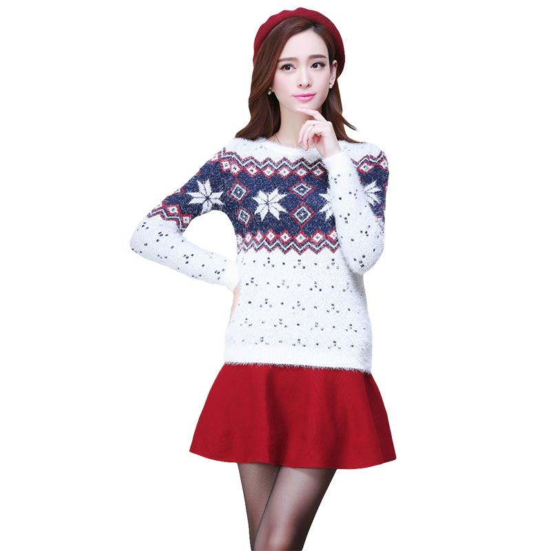 snowflake women A fair isle snowflake pullover sweater for women celebrates the spirit of the season.