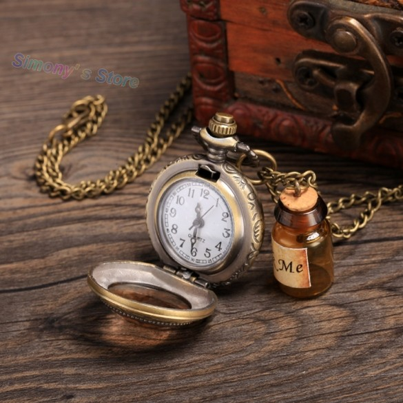 Fashion Vintage Style Pocket Watch With Drift Bottle Embellished Pendant Necklace For Women 53