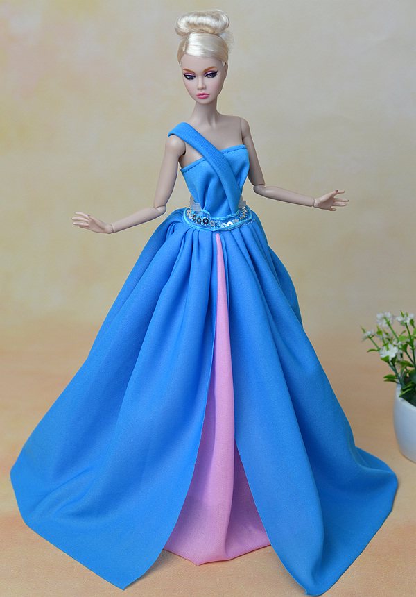 Doll Dress Sexual Long Tail's Evening Gown Purely Manual Clothes Blue Sexy Wedding Dress for Barbie Dolls Dress Clothes(China (Mainland))
