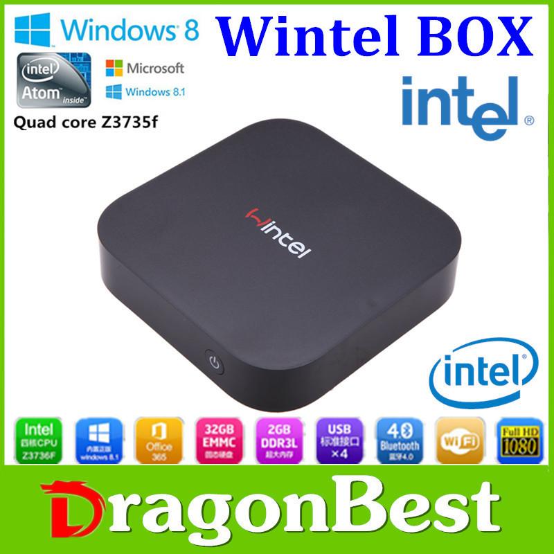 Hotsale Wintel W8 OS + Android 4.4.4 Daul system MINI PC lntel Quad Core CPU 2G+32G TV Box multimedia player mini pc Free Ship(China (Mainland))