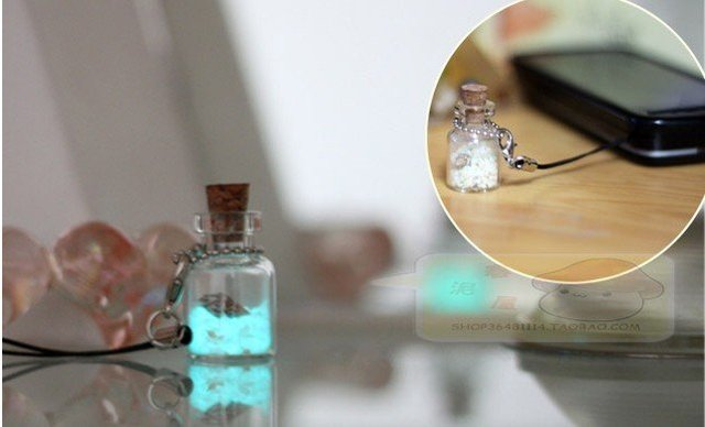 Romantic light-storing vowed bottle with star sand ,love gft,mobile phone decoration free shipping10pcs/lot