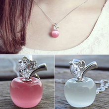 Girl Apple Shape Pendant Faux Opal Cubic Zirconia Silver Plated for Necklace 6Y7R(China (Mainland))