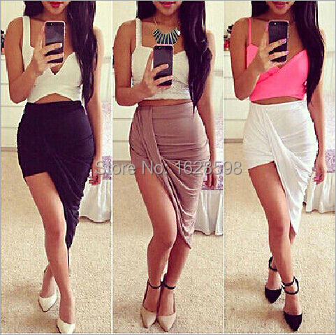 2014 brand new Sexy Wrap Banded Waist Draped women skirt Cut Out Asymmetrical Hi Low womens Skirts S M L(China (Mainland))