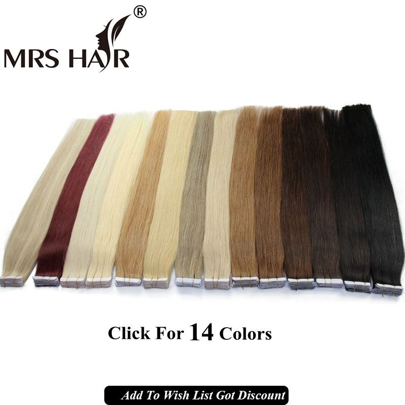 Tape In Human Hair Extensions 20pcs Natural Black Remy Brazilian Straight Skin Weft Hair Blonde Tape Hair Extensions Brown Sales(China (Mainland))