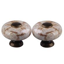 2 PCS Round Marble Cracks Ceramic Drawer Handle Cupboard Wall Cabinet Knob Free Shipping  CA1T(China (Mainland))