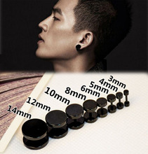 1 pcs New Fashion  Stainless Steel Black Gothic Barbell Earring Round Plain Men Stud Earring Jewelry 8styles Drop shipping(China (Mainland))