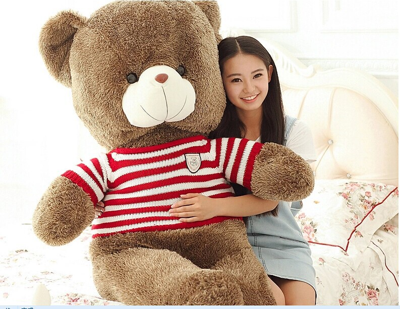 super huge teddy bear toy big red stripes teddy bear toy sweater bear doll gift doll about 180cm(China (Mainland))