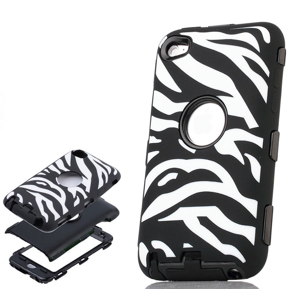 ULAK Zebra Design 3 in 1 Combo Black Hard PC and Soft Silicon Case Cover for Apple iPod Touch 4 4th Gen(China (Mainland))