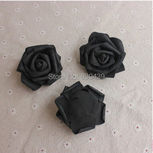 NEW arrival black rose (100pcs/bag) foam rose  artificial flower  home wedding decoration flowers 5-6cm free shipping(China (Mainland))