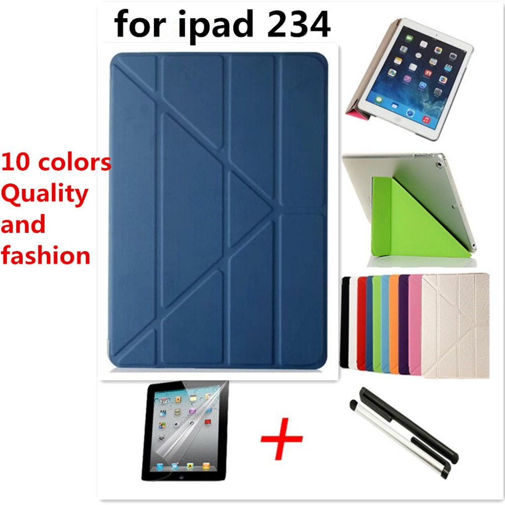 Hot sale 5 support way! For iPad 2 3 4 Smart Case Original 1:1 Tablet Leather For Apple ipad Case Gift Screen film+capacitor pen(China (Mainland))