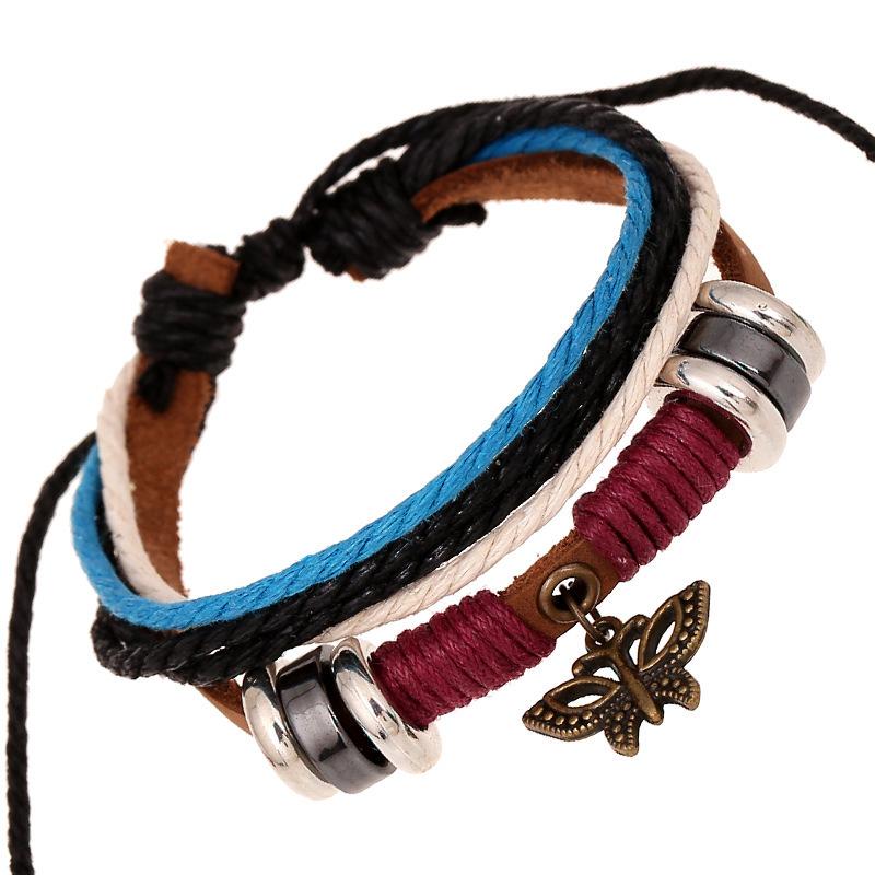 2015 summer jewelry leather bracelet multilayer strap punk rock hippies bracelets & bangles pulceras mujer de plata bijoux SL128(China (Mainland))