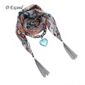 D Exceed Bohemian Floral Printing Blue Crystal Heart Pendant Necklace Scarf Jewelry Vintage Scarfs Ladies SC150051
