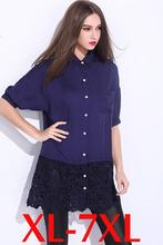 XL-7XL  Blue Patchwork Black Lace Crochet Hollow Woman Summer Shirts Girl Clothes Ladies Fashion Top Blouses Shirts Big Size