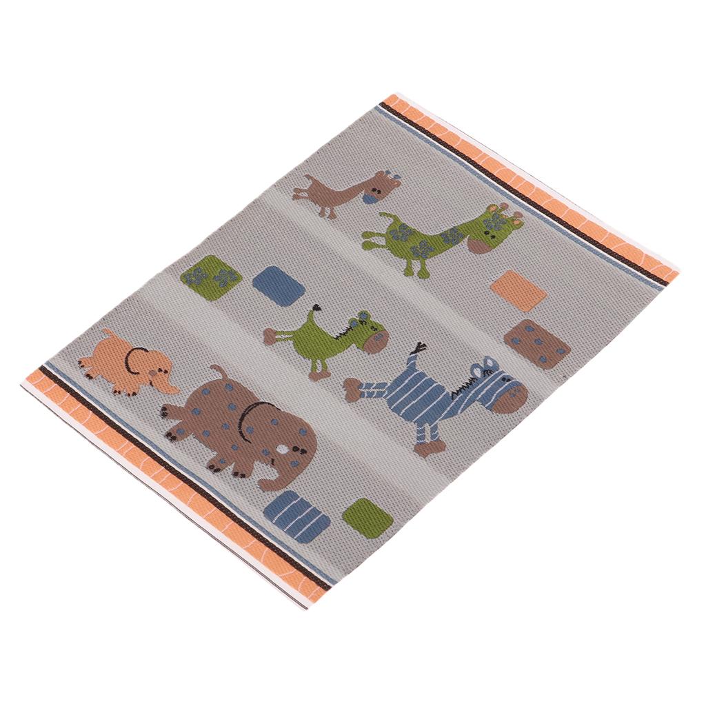 Handmade 1/12 Dollhouse Miniature Rug Cartoon Animals Woven Carpet Floor Covering Area Rug Children Room