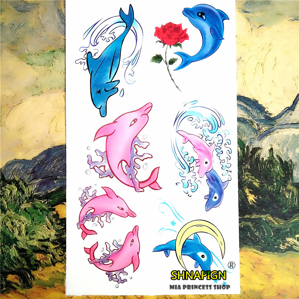 Pink dolphin stickers reviews online shopping pink for Painless permanent tattoos
