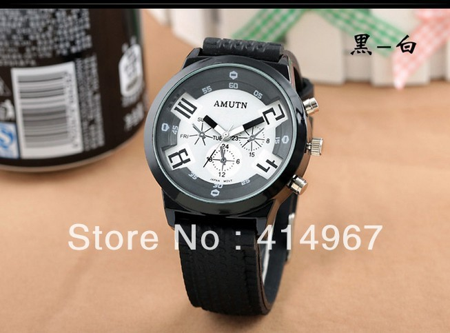 AMUTN Functional Dial Numeral/Dotted Markers Silver Case Rubber Strap Quartz Unisex Watch Multicolored(China (Mainland))