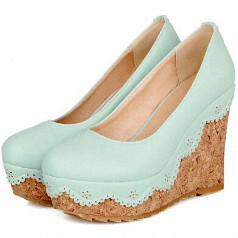 ENMAYER new spring summer wedges high heels pumps shoes woman pumps fashion heels sandals nude pumps for shoes women<br><br>Aliexpress