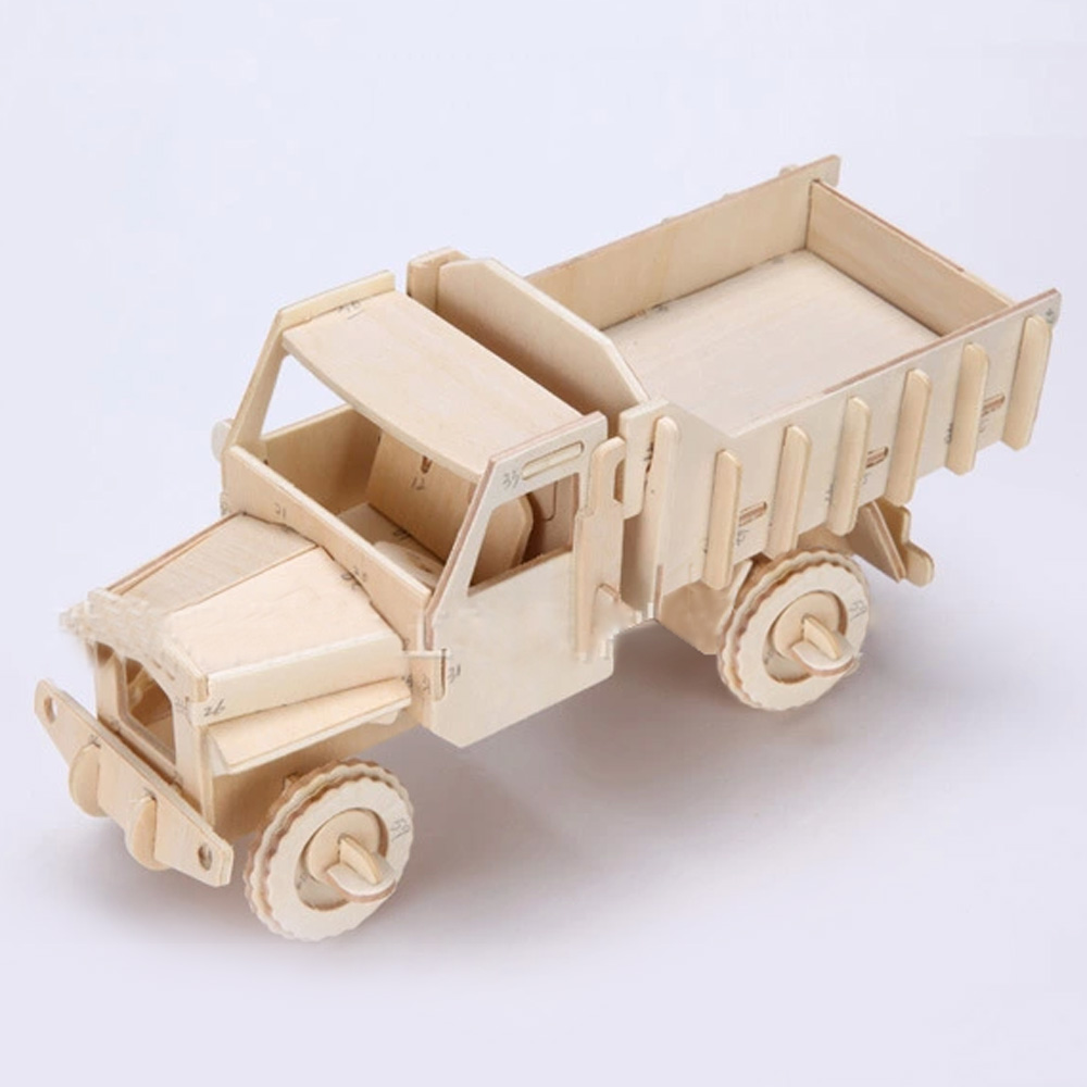 3D Wooden Puzzle Jigsaw Lorry Trucks Model Toy DIY Kit for Children And Adults(China (Mainland))