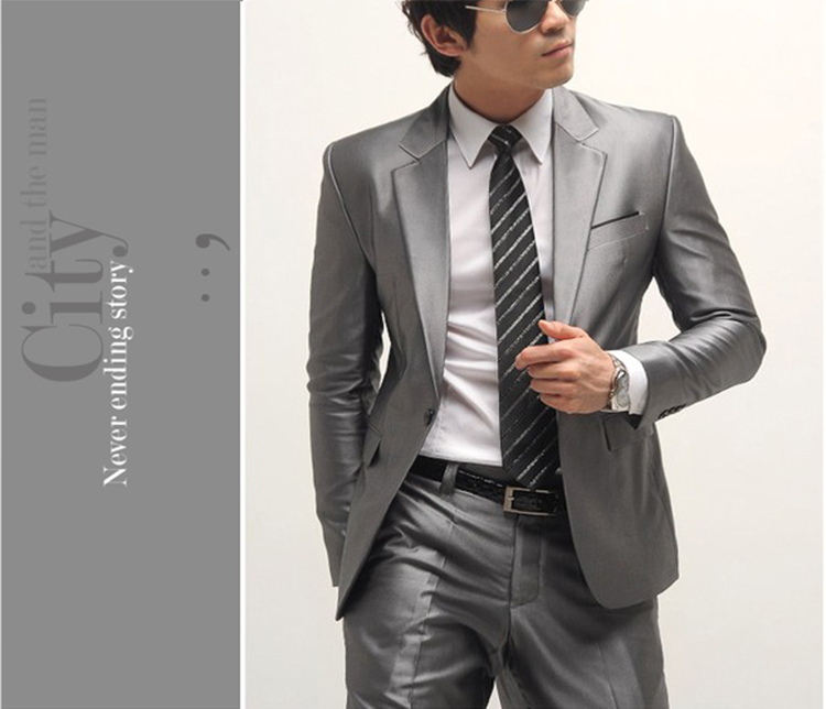 19-Free Shipping New 2015 man suit classic Fashion grooms man suits! Men's Blazer Business Slim Clothing Suit And Pants